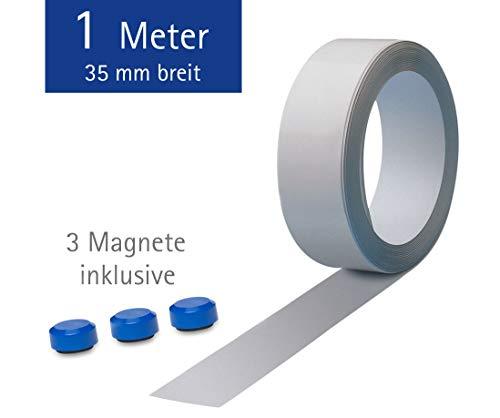 Maul Ferroband, Selbstklebende Magnethaft-Wandleiste aus Stahlblech, Größe 100 cm x 3,5 cm, Weiß, Inklusive 3 Rundmagnete -