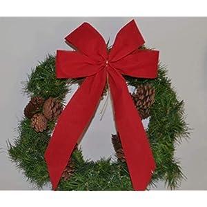 4 Stück – Adventsdekoration, Weihnachtsschleife, Fertigschleife, Dekoschleife 14 x 25 cm