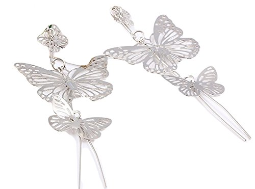 SaySure - Gold Silver Plated Alloy Double bow Butterfly drop