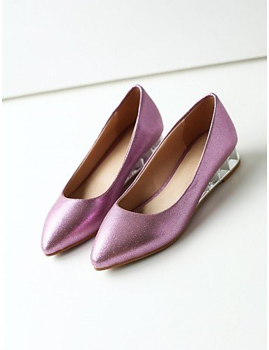 ZQ Scarpe Donna - Ballerine - Matrimonio / Ufficio e lavoro / Formale - Ballerina / A punta - Zeppa - Vernice / Materiali personalizzati - , purple-us10.5 / eu42 / uk8.5 / cn43 , purple-us10.5 / eu42  golden-us8 / eu39 / uk6 / cn39