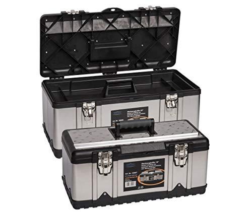 """Kreher Profi Edelstahl Werkzeugkoffer Set : XXL 23\"""" Profi Koffer 58 x 30 x 25 cm + XL 18\"""" Profi Koffer 47 x 23 x 20 cm. Abschließbar, mit Werkzeugträger, Metallverschlüssen, Ablängvorrichtung."""
