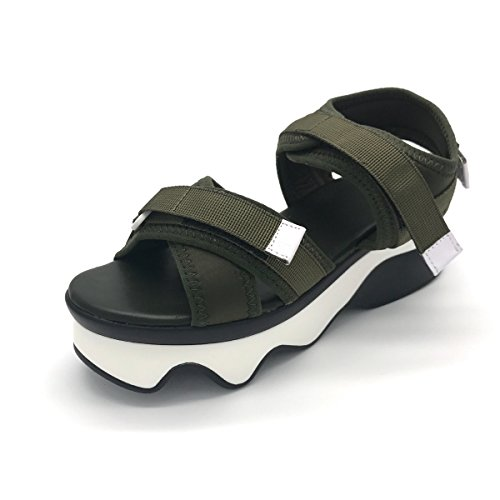 Damen Sandalen Plateau Offen Canvas Atmungsaktiv Rutschhemmend Leicht Klettverschluss Modisch Bequem Sommerlich Schick Schuhe Grün
