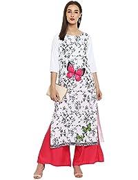 Ziyaa Women's White Color Straight Floral Print Kurta(ZIKUCR2161)