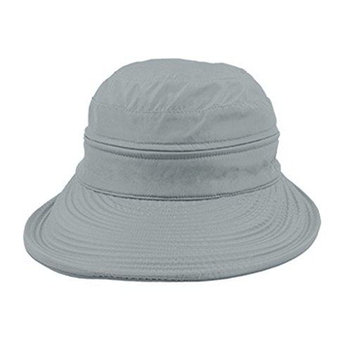 FakeFace Damen Mädchen Sonnenhut Faltbar Sommerhut Strandhut Sonnenschutz Hüte Breite Krempe Hut Kappe aus Baumwolle Anti-UV Grau
