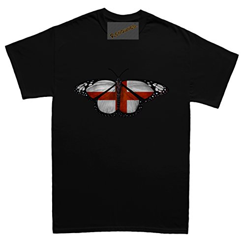 Renowned England Flag Inside Butterfly Wings Unisex - Kinder T Shirt Schwarz