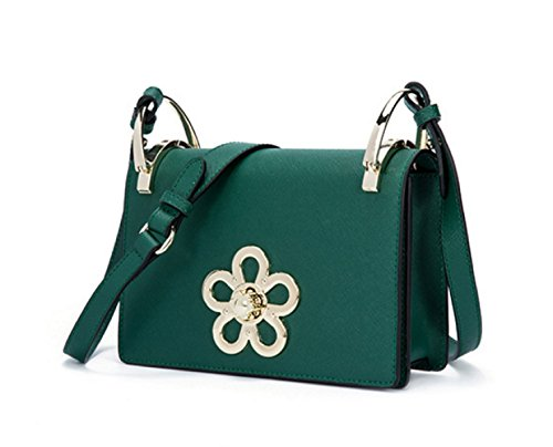 Donne Cuoio Genuino Borsa Prugna Decorazione Singola Spalla Crossbody Bag. Green