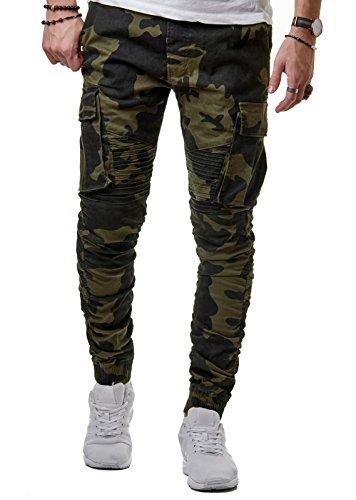 EightyFive Herren Cargo Biker Hose Stoff Slim Fit Camouflage Gerippt Cuffed Jogger Camo EF3301, Farbe:Camouflage Green, Hosengröße:L (32-33) (Camo Cargo Jeans)