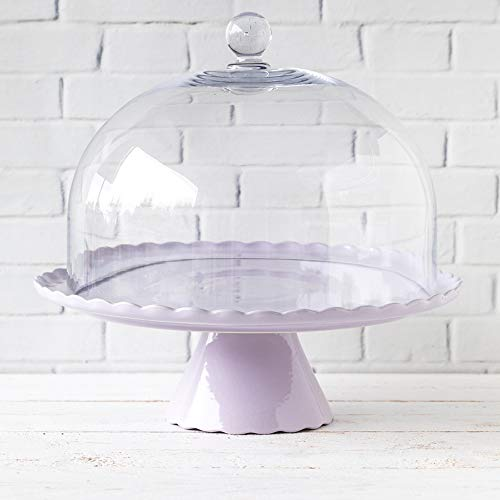Home of Cake Manifique: Présentoir à gâteau Sweet Flower Lavande Clair avec Cloche en Verre, Ø 34 cm