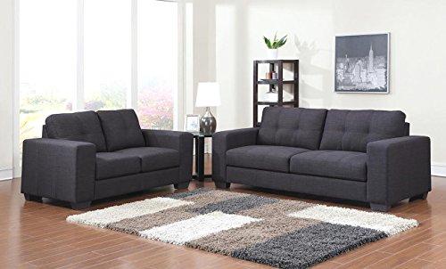 SAM Sofa-Garnitur Aviano, 2tlg. Grau, aus Stoff, abgestepptes Design, Bestehend aus 1 x 2-Sitzer + 1 x 3-Sitzer