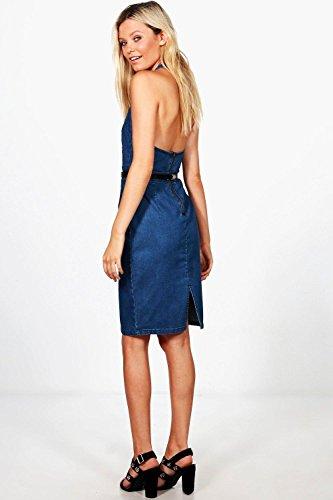 Damen Mittleres Blau Jessie Kleid Aus Denim Mit Tiefem Ausschnitt Und Stickerei Mittleres Blau