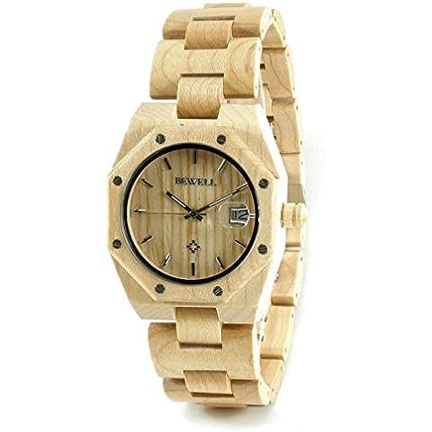Bewell - Reloj madera natural de Arce con movimiento de cuarzo analógico sumergible y de gran resistencia con diseño