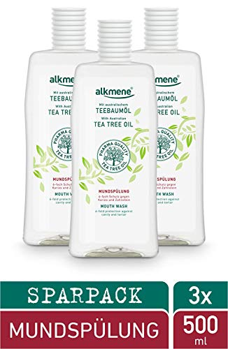 alkmene Teebaumöl Mundspülung mit 6-fach Schutz - Schützt vor Karies, Zuckersäuren, Zahnstein - Mundwasser ohne Alkohol, Silikone, Parabene & Mineralöl - Zahnspülung im 3er Pack (3x 500 ml)