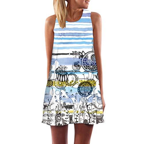 Damen Tshirt Kleid Rundhals Ärmellos Minikleid World Map Muster Tunika Bluse Kleider Elegant Knielang Festlich Cocktailkleid Partykleid Freizeitkleider ()