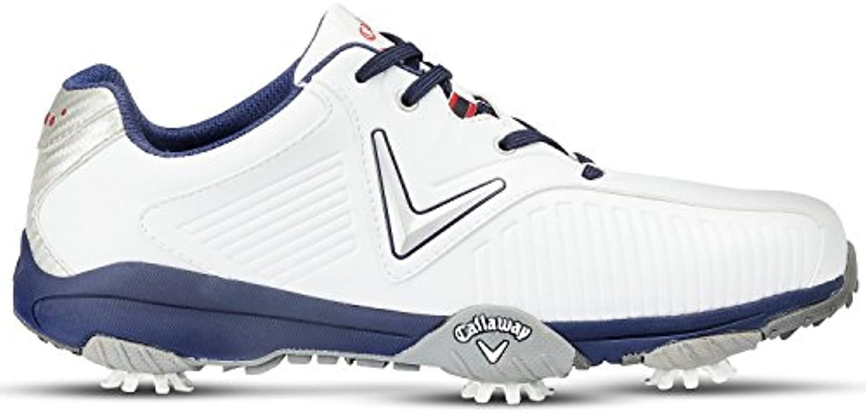 Callaway Chev Mulligan Zapatillas de Golf, Hombre, Blanco (White/Blue), 44.5 EU