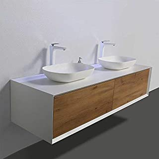 BMG Möbel Tona Frieda Waschplatz Doppelwaschplatz Waschbecken Elysia 160 cm breit mit Zwei Aufsatzwaschbecken