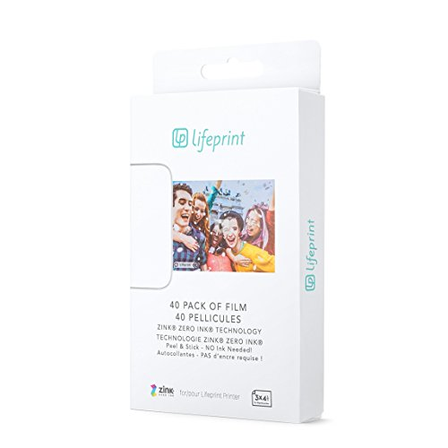 Lifeprint 40 Pack of Film for Lifeprint Augmented Reality Photo and Video Printer. 3x4.5 Zero Ink Sticky Backed Film