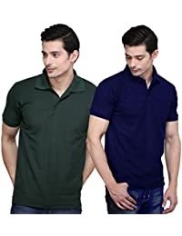 X-CROSS Navy Blue & Dark Green Color Pack Of 2 Men's Polo T-Shirt With Collar - Slim Fit Cotton Polo T-shirt For...