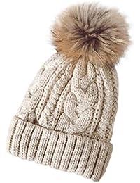 Tongshi Las mujeres invierno Crochet sombrero piel Cannabis lana Knit gorro  mapache caliente 0649ded88048