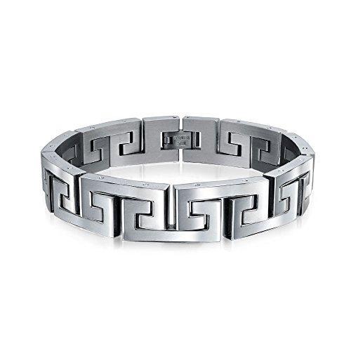 Bling Jewelry Geometrische Fancy Griechische Schlüssel Armband Bracelet Für Herren Edelstahl
