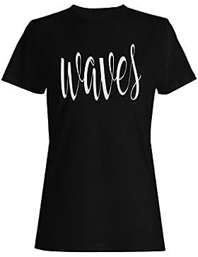 Ondas en la novedad divertida negra camiseta de las mujeres ff56f