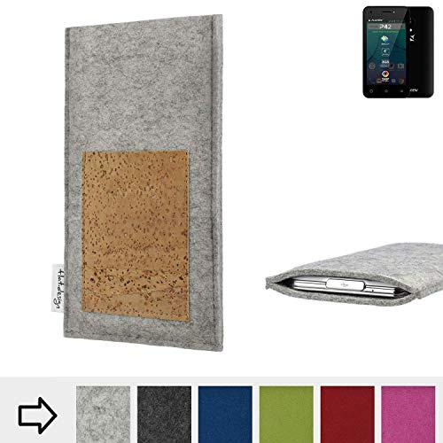 flat.design Handy Hülle Evora für Allview P42 Made in Germany Handytasche Kartenfach Kork Filz Tasche Case