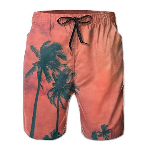 DPASIi Men's Swim Trunks Palm Tree Beautifu Surfing Beach Board Shorts Swimwear Medium - Palm Tree Swim Trunks