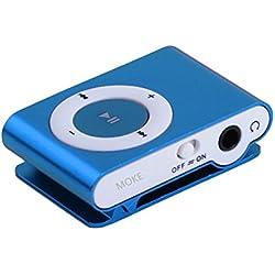 Merck Moke MP3 Player Ideal Zum Laufen soprt Jogging ,Leichtgewicht,Clip Befestigung,Inklusive Kopfhörer und USB Ladekabel-Blau(Keine Speicher- / SD-Karte)