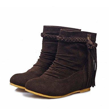 Bottes pour femmes automne hiver robe en simili cuir Confort Talon plat occasionnel Tassel Yell Brun foncéOw Beige noir Dark Brown