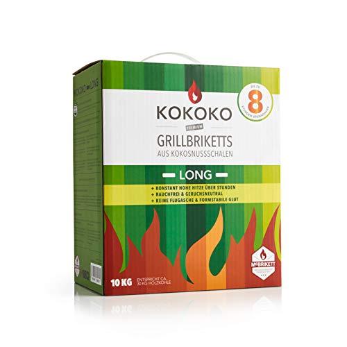KOKOKO LONG Grillbriketts von McBrikett | 10kg | Grillkohle ideal für Smoker, Kugelgrill, Schwenkgrill, Gastronomie | Extra lange Brenndauer > 8 Stunden Glut