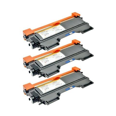 3 Toner für TN-2220 TN-2010 Brother MFC-7360N HL-2240DR L HL-2250DNR HL-2270DW HL-2130 DCP-7055 DCP-7057 HL-2132 DCP-7055 W HL-2130 R HL-2132 R - XXL Füllmenge, Schwarz je 5.200
