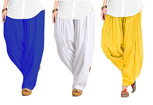 Spangel Fashion Women\'s Pure Cotton Full Stitched Ready made Patiala Bottom Salwar Combo Patiyala Pack Of 3 (Blue, White,Yellow_Free Size)