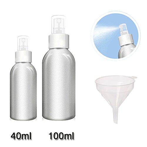 che für Parfüm Toner Aluminium Hochwertige Lagerung Reisesets Bulk Kosmetik Gläser Aluminium Körper und PP Pumpe (40ml + 100ml) (Glas Flaschen Bulk)
