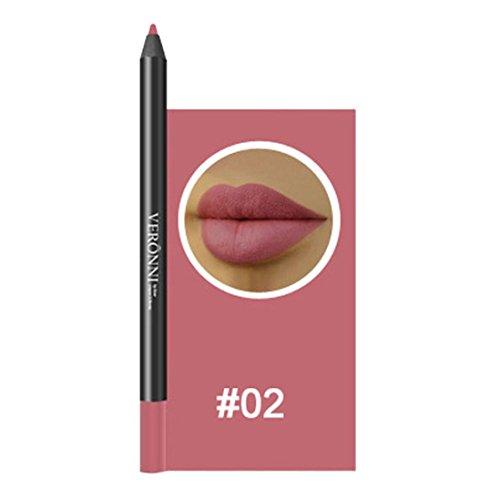 Lippenkonturenstift, GreatestPAK 13 Farben professionelle Lipliner Make-up wasserdicht Bleistift (02#)