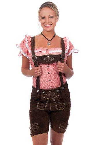 Kurze Damen Trachten Lederhose braun aus feinstem Rindsveloursleder Gr 40