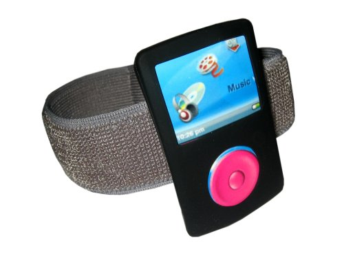 igadgitz Silikon Schutzhülle Skin Schutzhülle mit Sportarmband, Lanyard, Displayschutzfolie für Sandisk Sansa Fuze–schwarz (Armband Sansa Mp3-player)
