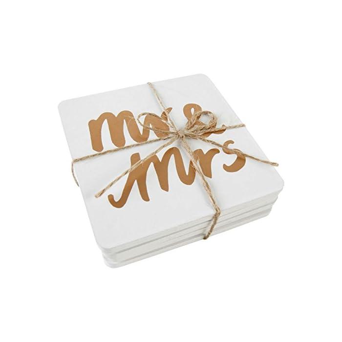 4-tlg.Untersetzerset Mr. & Mrs. aus Holz - Glasuntersetzer Hochzeitstisch