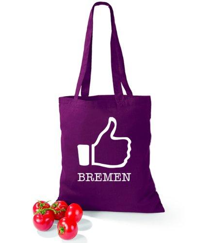 Artdiktat Baumwolltasche I like Bremen Burgundy