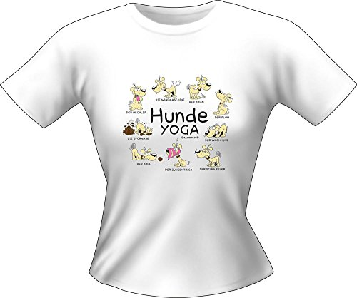 Hunde Sprüche - Yoga - Fun Lady T-Shirt 100% Baumwolle - Größe S