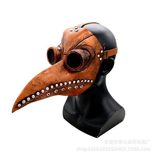 Xgsco Pest Vogel Mund Arzt Maske, Halloween Lange Nase Vogel schnabel Steampunk Requisiten Gothic Cosplay Retro Leder Vogel Maske kostüm lustige Weihnachtsfeier Rollenspiel (Lustige Hockey Kostüm)