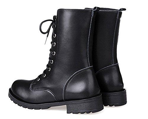 Aisun Femme Mode Désert Ranger à Lacets Bottines Noir