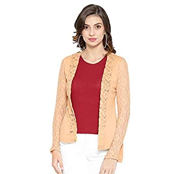 SKiDlers Women/Girl's Summer Cotton Formal Net Shrugs/Women's Cotton Front Open Full Sleeve Net Shrug