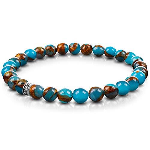 FABACH Blauer Goldstein Perlenarmband mit 6mm Edelstein-Perlen und 925 Sterling Silber Logo-Perle - Edles Naturstein Stretch-Armband für Damen (Gold-Blau)