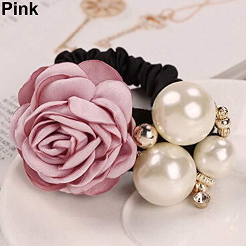 Makwes Lady Girl Chic Sweet Rose Blume Faux Pearl Stirnband Pferdeschwanz Inhaber Haarband,Haargummis für Mädchen Damen Lady, Haarschmuck, Beauty Haarband- Rosa -