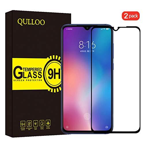 QULLOO Panzerglas für Xiaomi MI 9 Panzerglas Schutzfolie Film, 9H 2Pack Verbesserte gehärtetes Glas Folie Blasenfrei Selbst Anti-Fingerabdruck für Xiaomi MI 9 Folie - Schwarz