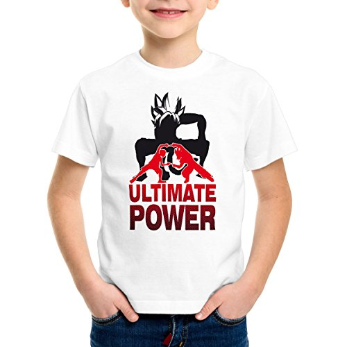 style3 Goku-Luffy Fusion Ultimate Power T-Shirt pour Enfants, Color:Blanc;Talla:164