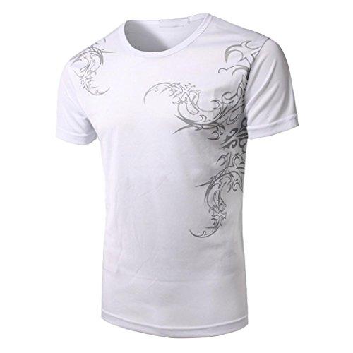 ❤️Tops Blouse Homme T-Shirt, Amlaiworld Mode Hommes Occasionnels Slim Manches Courtes Tops Chemise Imprimée Blouse Thongs Hommer Boxer (L, Blanc)