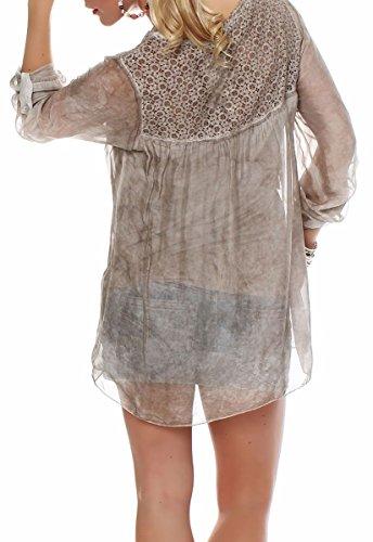 Malito Damen Bluse Aus Seide   Tunika mit ¾ Armen   Blusenshirt mit Spitze   Edles Oberteil �?Shirt 6705 Fango