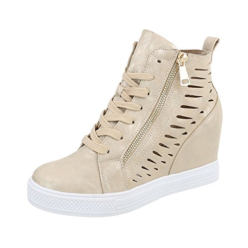 Ital-Design Sneakers High Damenschuhe Sneakers High Keilabsatz/Wedge Keilabsatz Reißverschluss Freizeitschuhe Gold JK-52