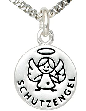 Schmuck Klein Kinderkette mit Anhänger Schutzengel Ø 12 mm, Veneziakette 925/- Sterling Silber 1,0 mm, Länge ca...