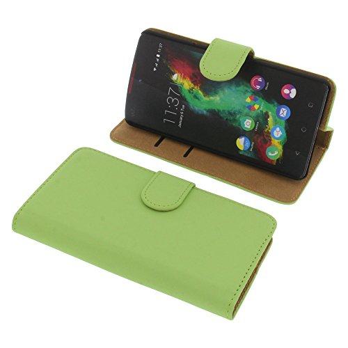 Tasche für Wiko Rainbow Lite Book Style grün Kreditkarte Schutz Hülle Buch